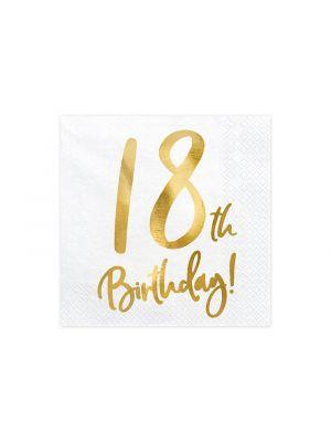 Valkoiset lautasliinat 30th Birthday, 20kpl