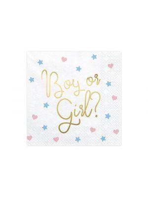Lautasliinat jossa teksti Boy or Girl?