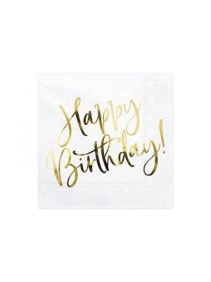 """Lautasliinat tekstillä """"Happy Birthday"""", 20 kpl."""
