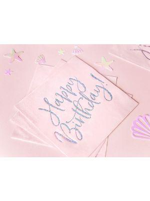 """Vaaleanpunaiset lautasliinat iridescent-holografisella tekstillä: """"Happy Birthday"""", 20 kpl."""