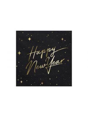 "Mustat lautasliinat ""Happy New Year"", 20 kpl."