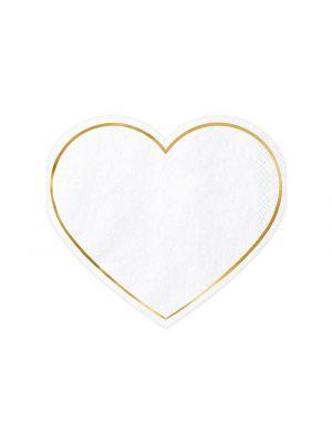 Sydämenmuotoiset servetit, Valko-kulta, 20kpl
