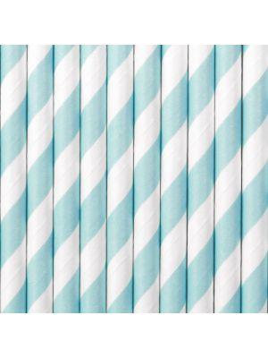 Raidalliset paperipillit vaaleansiniset-valkoiset, 10kpl