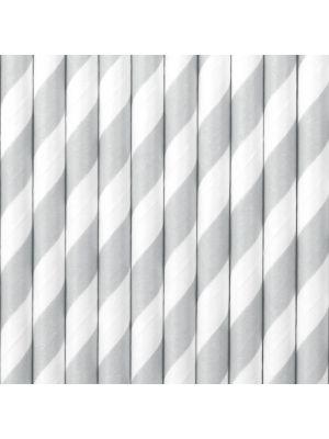 Harmaat raidalliset paperipillit, 10 kpl.