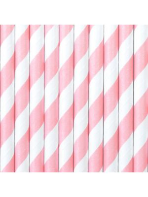 Raidalliset vaaleanpunaiset paperipillit.