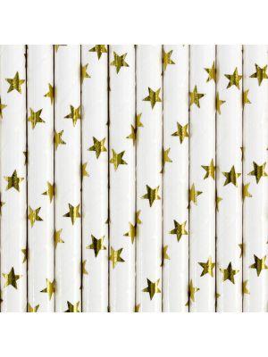 Valkoiset paperipillit kultaisilla tähdillä.