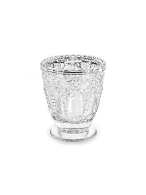 Hopeinen lasinen tuikkukuppi, 7 x 8 cm.
