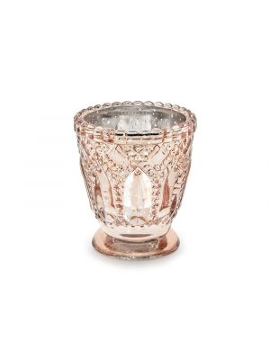 Ruusukultainen ja hopeinen lasituikkukuppi, 7 x 8 cm.