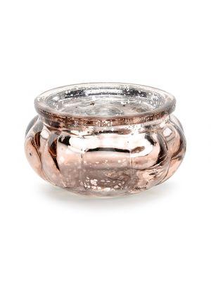 Ruusukultainen ja hopeinen tuikkukuppi, 6 cm.