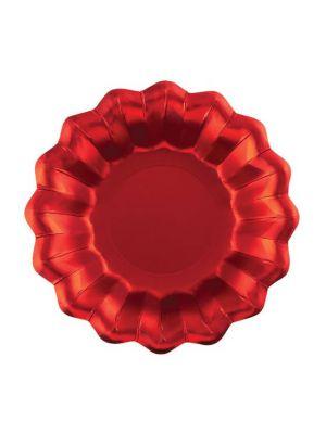 Syvät metallinhohtoiset satiininpunaiset lautaset, 8 kpl.
