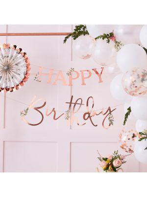 Ruusukultainen banneri Happy Birthday, Kukilla.