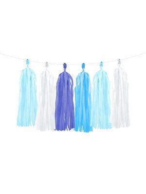 Ihanat sinisävyiset tasselit. Koko noin 1,5 m x 30 cm.
