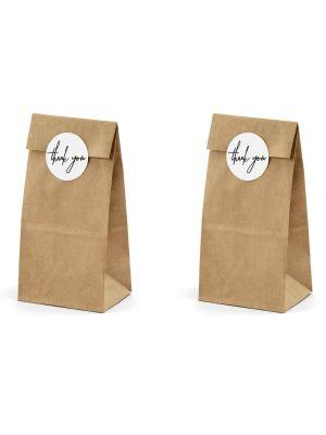 Voimapaperista tehdyt paperipussit tarroilla, 6 kpl.