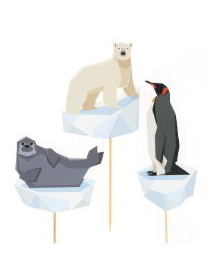 Polaari-aiheisetkoristetikut! 3 kpl eläintikkua (jääkarhu,pingviinijahylje)