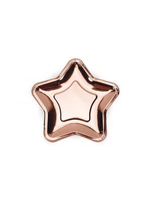 Pahvilautaset, Ruusukultaiset tähdet, 18cm, 6kpl