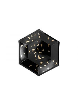 Mustat kertakäyttölautaset kultaisilla lepakoilla, 6 kpl. Halloween.