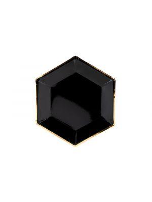 Mustat kertakäyttölautaset kultareunalla, 6 kpl.