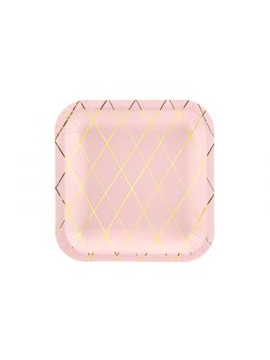 Pahvilautaset Vaaleanpunaiset, kultainen ruudukko, 20 cm