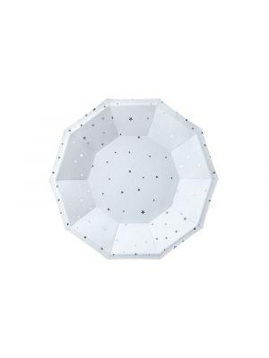 Kertakäyttölautaset vaaleansiniset hopeisilla tähdillä