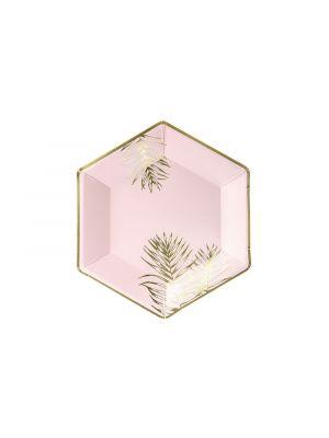 Vaaleanpunaiset pahvilautaset - Lehdet, 23cm