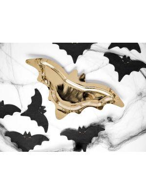 Kultaiset lepakko halloween pahvilautaset, 6 kpl.