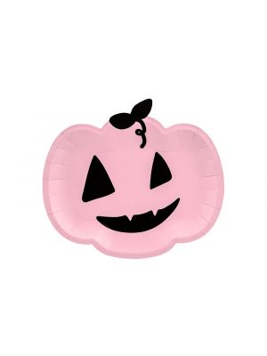 Vaaleanpunaiset halloween kurpitsa pahvilautaset, 6 kpl.