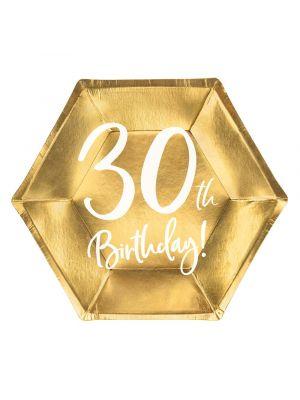 """Kultaiset jälkiruokalautaset 30-vuotisjuhliin, tekstillä """"30th Birthday!"""""""