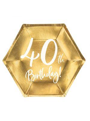 """Kultaiset jälkiruokalautaset 40-vuotisjuhliin, tekstillä """"40th Birthday!"""""""