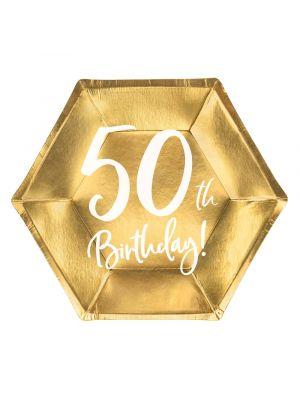 Kultaiset pahvilautaset, 50th Birthday, 17cm, 6kpl. 50-v juhlat