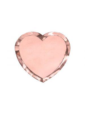 Ruuusukultaiset sydämenmuotoiset kertakäyttölautaset, 6 kpl.