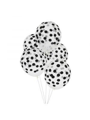 Kirkkaat ilmapallot mustilla pilkuilla. Pakkaus sisältää 5 kpl ilmapalloa.