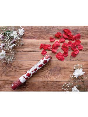 Konfettitykki joka ampuu ilmanpaineella punaisia ruusun terälehtiä!