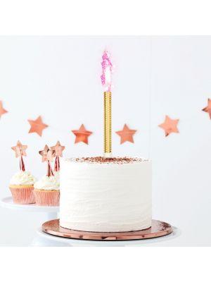 Kakkukoriste, kullanväriset sädekynttilät joilla on vaaleanpunainen lieki, 3kpl.