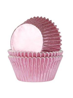 Vaaleanpunaiset säihkyvät folio mini-muffinivuoat, 36 kpl.