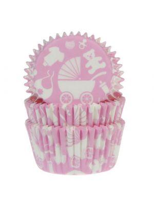 Vaaleanpunaiset vauvateemaiset muffinivuoat, 50 kpl.