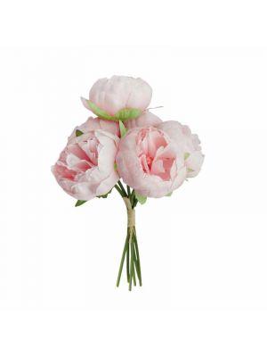 Nippu vaaleanpunaisia keinotekoisia pioneja. Kimpussa 6 kpl kukkaa.