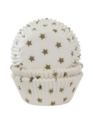 Valkoiset muffinssivuoat kultaisilla tähdillä, 50 kpl.