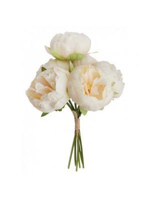 Silkkiset valkoiset pionit. Kukkakimpussa on 6 kukkaa.