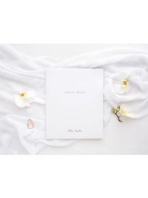 Valkoinen vieraskirja - Kultateksti Guest Book