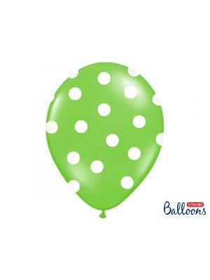 Lime-vihreät ilmapallot isoilla valkoisilla pilkuilla, 30 cm, 6 kpl.