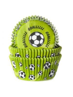 Vihreät jalkapalloaiheiset muffinivuoat, 50 kpl.