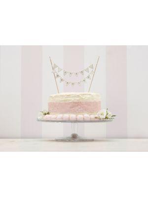 """Hääkakkukoriste, kermanvärinen kakkuviiri tekstillä """"Just Married""""."""