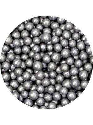Scrumptious Silver Sugar Pearls - Hopeanharmaat sokerihelmet, 4mm.