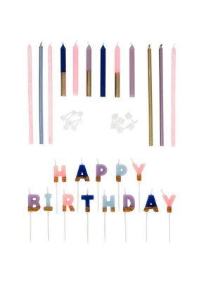 Kakkukynttilät Happy Birthday- kirjaimilla sekä 6 pitkää ja 6 lyhyttä kakkukynttilää.