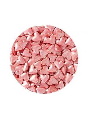 Wilton Shimmering Hearts - Vaaleanpunainen sydän-strösseli.
