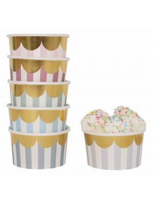 Pastellinväriset jäätelökupit kultaisella reunalla, 12 kpl.