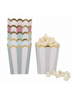 Pastellinväriset popcorn-rastiat kultaisella reunalla, 12 kpl.