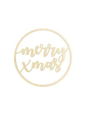 """Puinen ripustettava joulukoriste """"merry xmas"""", 28 cm."""