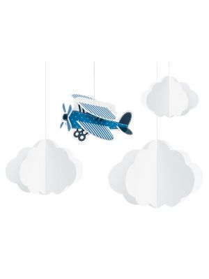Ripustettavat lentokoneaiheiset 3D koristeet, 4 kpl.