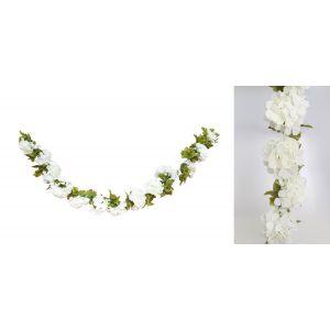 Keinotekoinen kukkaköynös, valkoiset hortensia-silkkikukat.